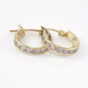 Solid 14K Clear CZ Hoop Huggie Earrings